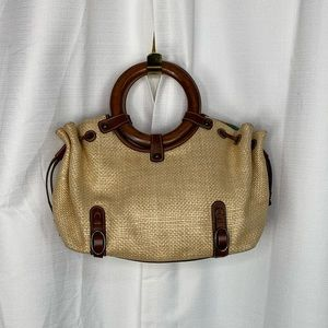 Fossil Straw and Leather Wooden Handle Tote Bag
